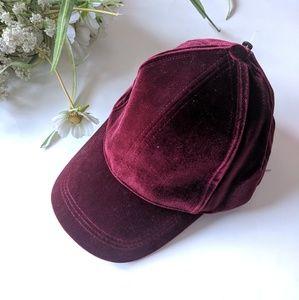 Burgandy velvet baseball cap